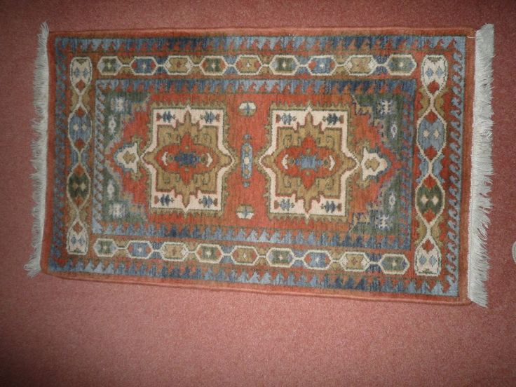 COLOURFUL AZTEC RUG - tans, green, cream blues Oblong 46.5 x26.5ins in Home…