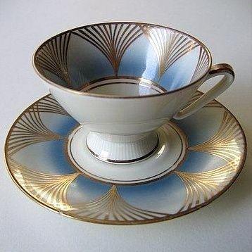 Art Deco porcelain tea cup and saucer set