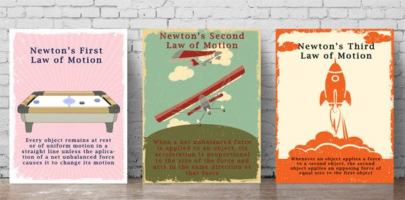 Printable Newton's Laws of Motion Posters by PalaeoPrintsStudio, $5.00