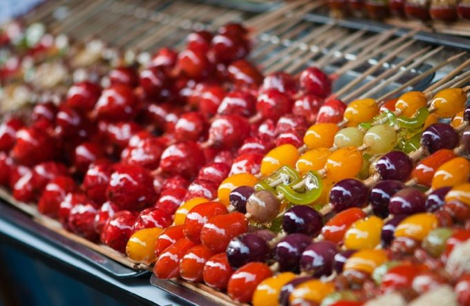 Tang hu lu (candied fruit on a stick), traditional Chinese street food