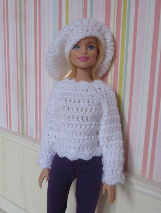 Ensemble pull et béret au crochet pour poupée Barbie : Jeux, jouets par atelier-crochet