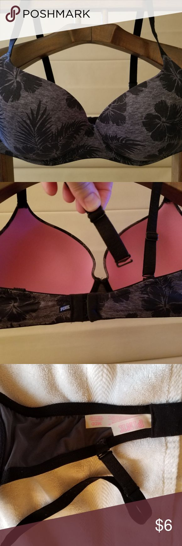 "Victoria's Secret PINK 36DD bra heather gray/black Victoria's Secret PINK size 36DD ""wear everywhere lightly lined"" bra. Heather gray and black. It has under wires that are NOT poking through anywhere. PINK Victoria's Secret Intimates & Sleepwear Bras"