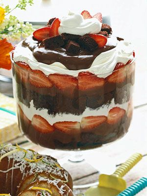 You decide. Is this luscious chocolate dessert a shortcake or a trifle? To make it, layer chocolate cake with chocolate pudding and strawberries in a bowl and top with whipped cream.
