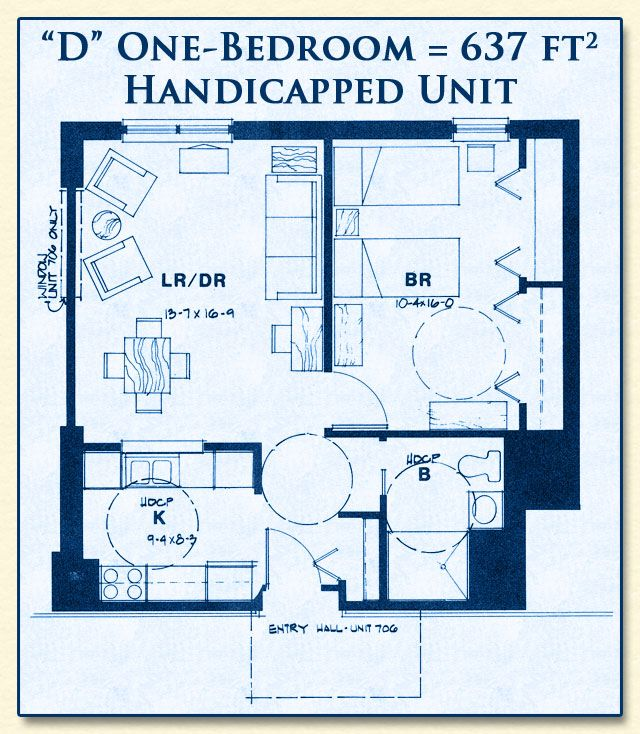 Unit D Is For Handicapped Seniors Has One Bedroom With 637