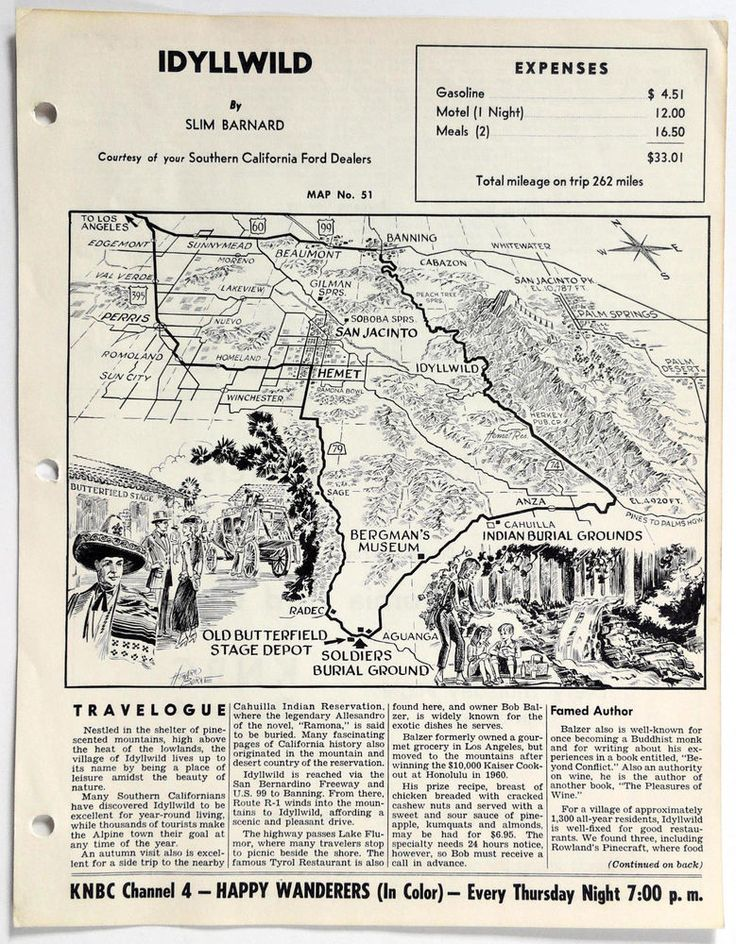1960's IDYLLWILD CA Happy Wanderers Travelogue MAP Slim Barnard KNBC 4 Ford