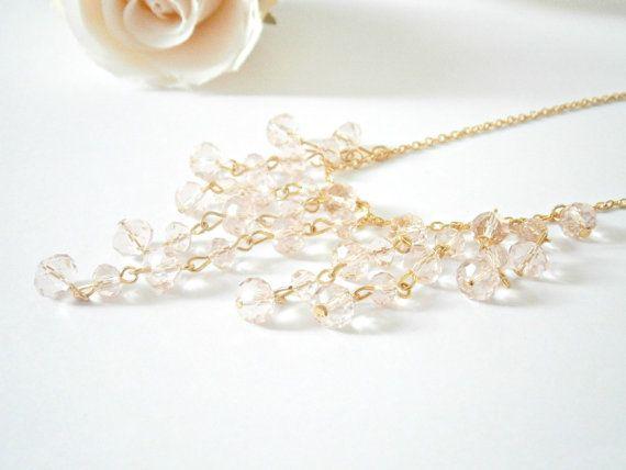 Pink Bib Necklace  Statement Jewelry  by GlamorousSparkle on Etsy