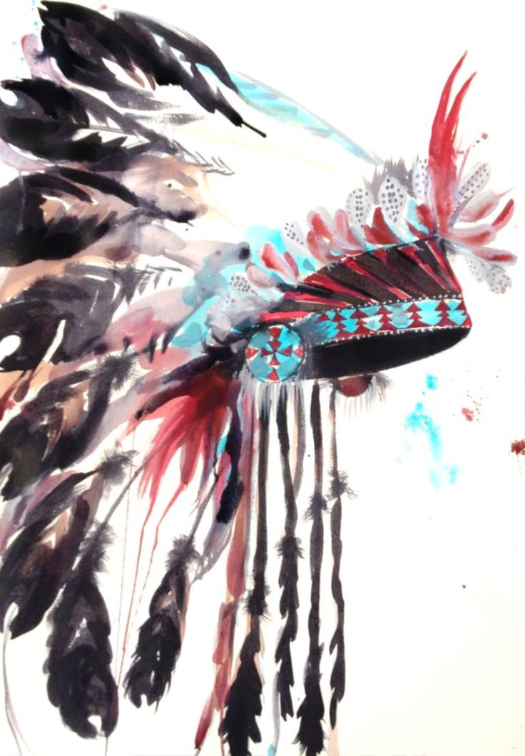 "Saatchi Art Artist Kristine Gottsch; Painting, ""Native American inspired headdress #2"" #art"