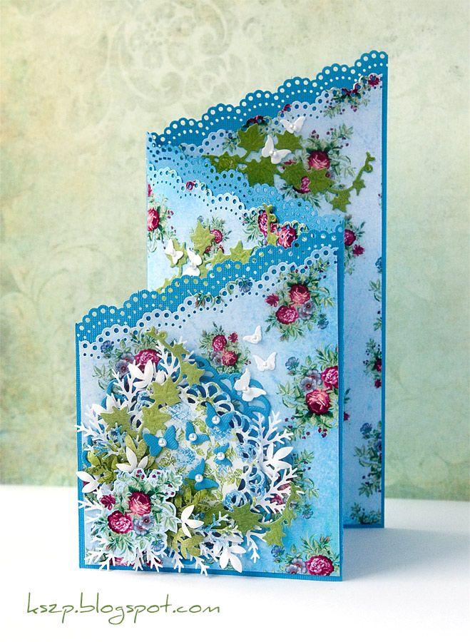 Czyli wracam do kwiatków, perełek, koroneczek (w tym przypadku dziurkaczowych) itp.  Od dawna korciło mnie, żeby spróbować zrobić kartkę kas...