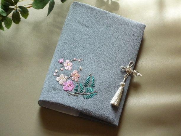 日本刺繍のミニバインダーノートカバー(梅-1)(ピンク) 2x