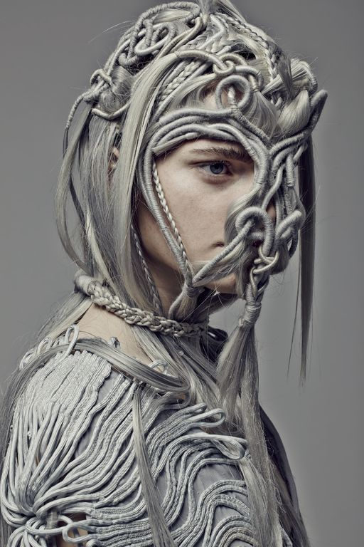 Artistic Fashion - grey macrame dress & mask with an experimental use of…
