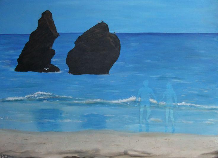 Dromen op het strand, Acrylverf op doek 60x80