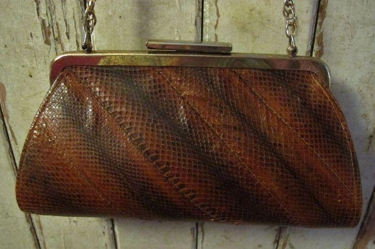 HANDBAG Shoulder BAG Brown Genuine SNAKESKIN Leather Gold chain VINTAGE Evening
