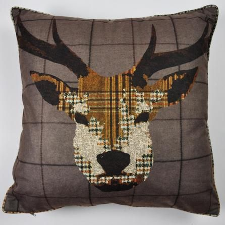 Brown Patchwork Stag Cushion | Dunelm