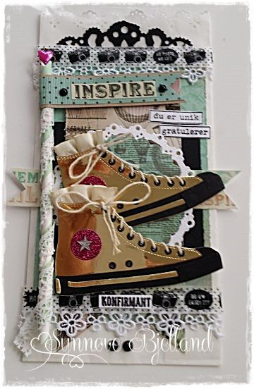 POSEKORT MED GULL-CONVERSE | The Paper Crafting