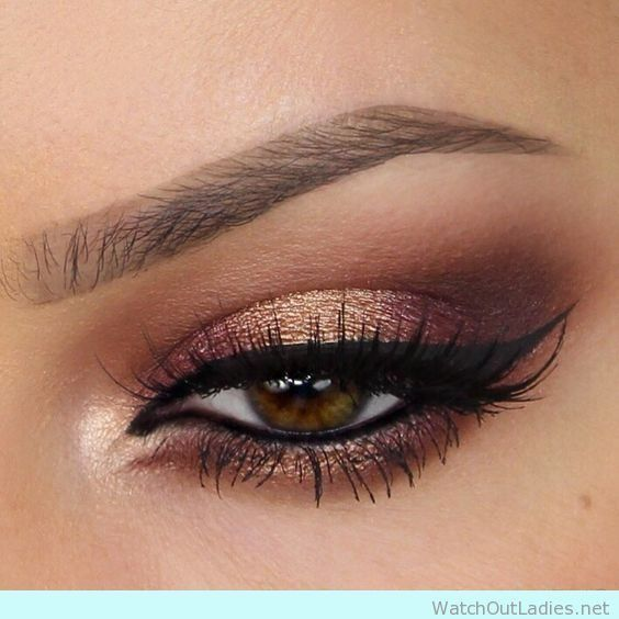 Metallic brown and gold eye makeup ideas ! Check now
