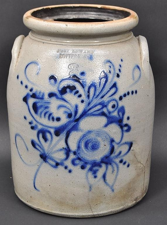 "FORT EDWARD POTTERY STONEWARE CROCK  									  									  										Measures: 11"" tall x 9"" diameter"