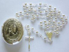 Apparition Medal Rosary Box & Rosary Necklace.