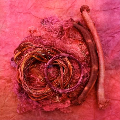Antique Red experimental kit designed for textile art and mixed media artists, scrapbooking or embroidery. Each package contains abaca tissue, silk throwsters waste, silk carrier rods, cotton and rayon thread and color co-ordinated wire. $13.25 each.