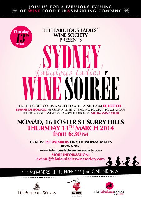 Sydney Fabulous Ladies Wine Soiree, 13 March 2014. Can't wait! http://fabulousladieswinesociety.com/2014/01/sydney-fabulous-ladies-wine-soiree-thurs-13-march-2014/