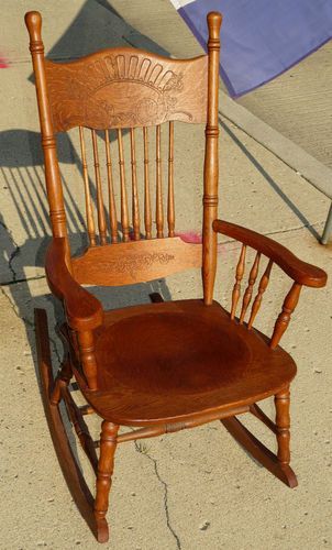 Victorian Oak Rocking ChairPressed BackAntique Spindle