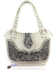 Montana West Concealed Carry, Western Bag w/ Tooled Leather Accents- Off White