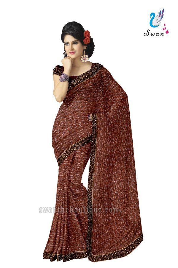 d03f8a8e8656 Buy trendy collection wedding wear Chocolate brown designer saree online  shopping at best price in india. Shop online Chocolate brown designer saree  with ...
