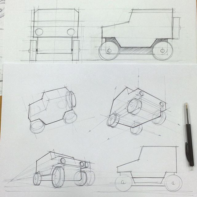 Perspective studies of a simple wooden toy car. #designsketching #sketch #ballpoint