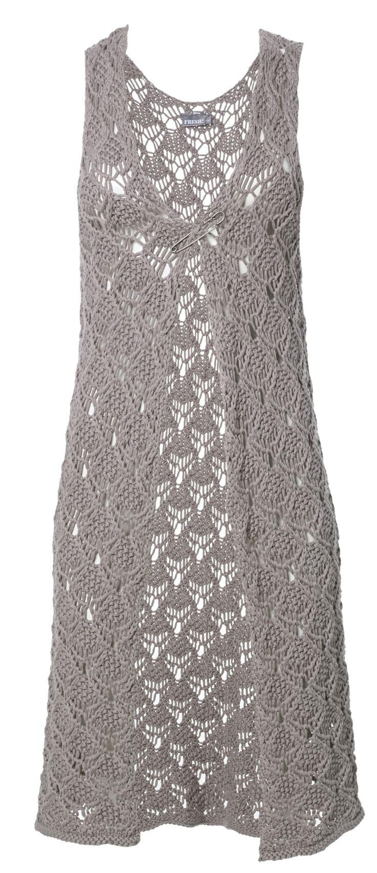 Angie - Gehaakt mouwloos vest in Bohemian style draag je heel makkelijk over diverse andere kledingstukken. Bijvoorbeeld in combinatie met een jurkje of mooi shirt met legging.  Heerlijk koel in de zomer, want gemaakt van 100% fijn katoen. Een vest dat je eigenlijk altijd wel aan wilt hebben.