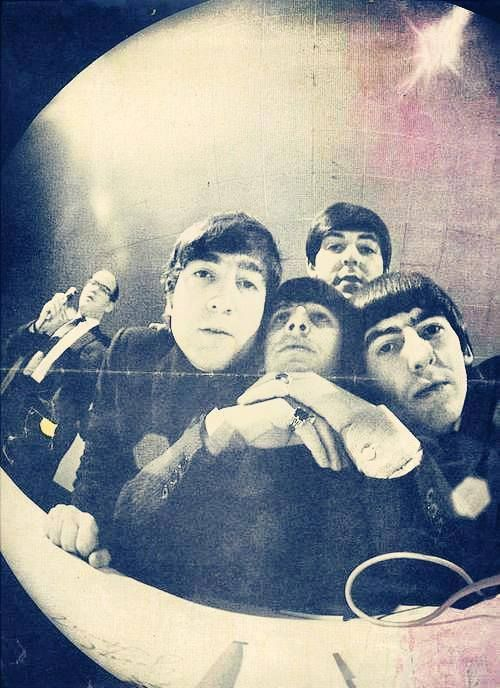 1963 fish eye lens photo by Klaus Voormann later used on cover of Revolver