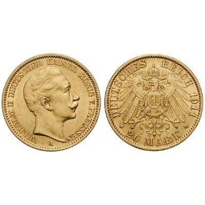 Deutsches Kaiserreich, Preussen, Wilhelm II., 20 Mark 1911, A, ss-vz/vz, J. 252: Wilhelm II. 1888-1918. 20 Mark 1911 A. J. 252;… #coins