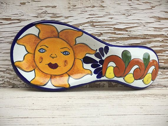 Hey, I found this really awesome Etsy listing at https://www.etsy.com/listing/510128514/vintage-talavera-pottery-spoon-rest-sun