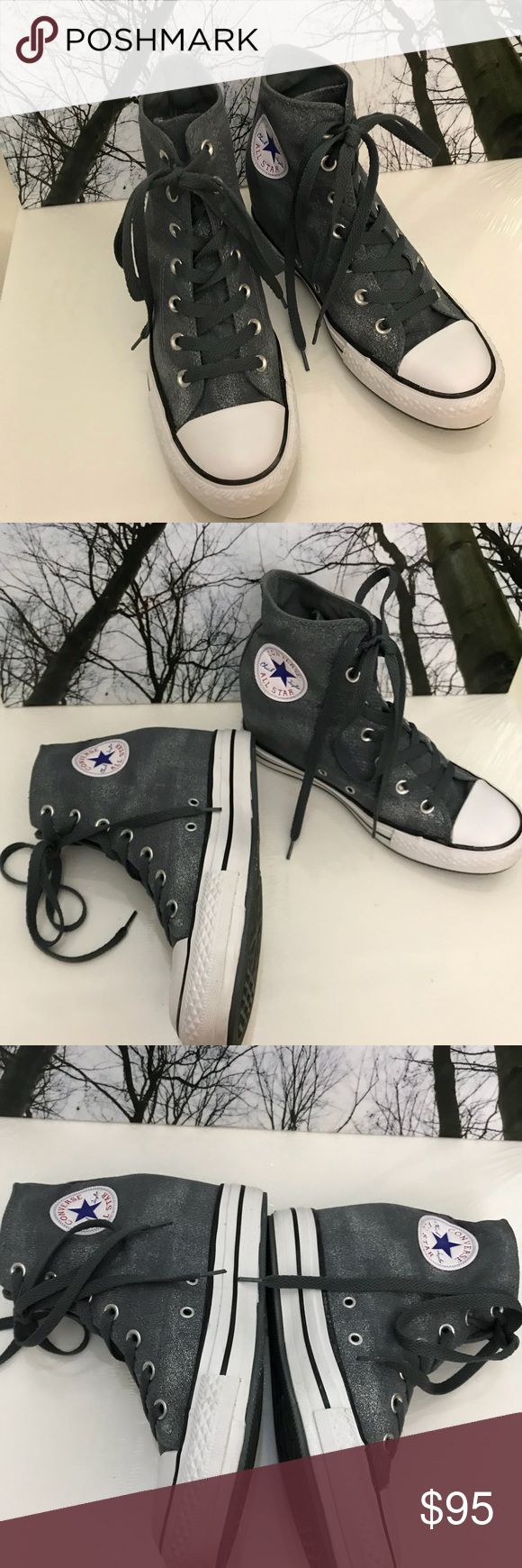 ❇️ACT Lux canvas Wedge ‼️On Sale Till 11/26/ NWOT- Authentic Converse Chuck Taylor All Star Lux Mid Women's Shoes. 💯% Authentic. Color.Gray like These are Rare & Hard to Find Brand New Shoes. The Chuck Taylor All Star Lux Women's Washed Canvas has a hidden internal wedge  to go along with a pigment sprayed and stonewashed upper. Converse Shoes Wedges