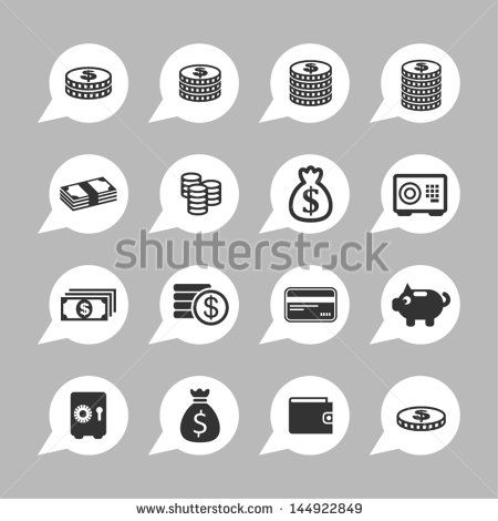Money icons for site - stock vector