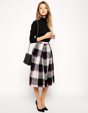 Enlarge ASOS Full Midi Skirt in Bold Check