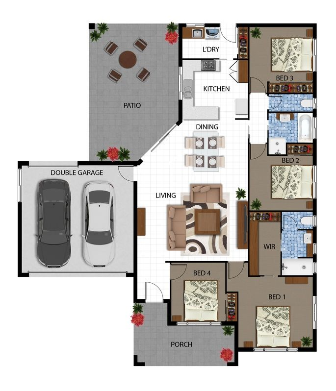 2D Color Floor Plan - Hedley Homes - Cairns