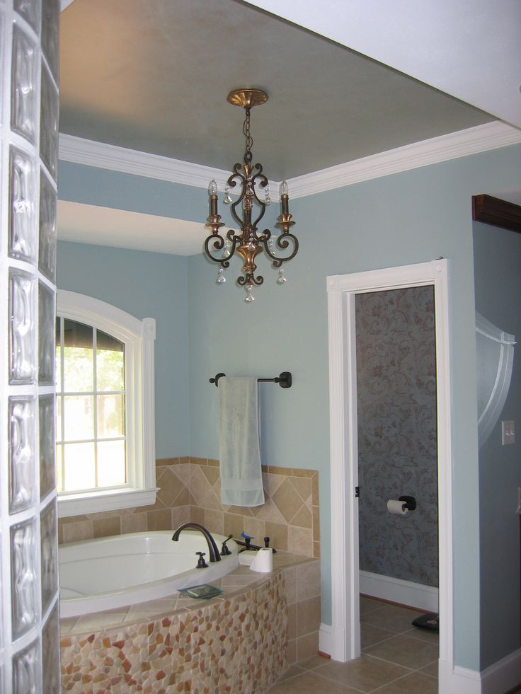 gray painted ceiling with lite blue walls