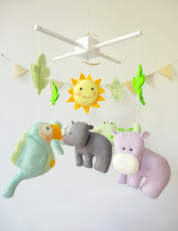 Hippo Baby Crib Mobile / Jungle Nursery Mobile / by LaPetiteMelina