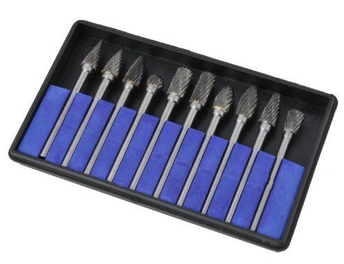 "10 Pieces Tungsten Carbide Rotary Burr SET 1/8"" Shank/double Cut Carbide Rotary Burr Set with 3mm Shank/tungsten Carbide Single Cut Rotary Burr SET 1/8"" Shank Fit Dremel"