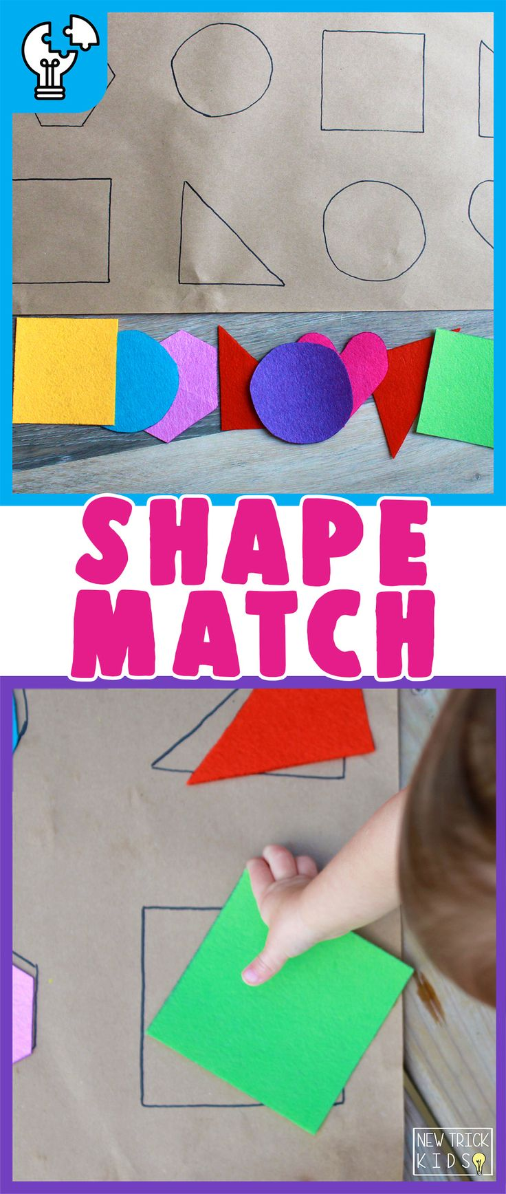Shape Match- A quick and cheap DIY puzzle activity to promote problem solving and visual scanning! Designed for toddlers and preschoolers. Ages: [12M …