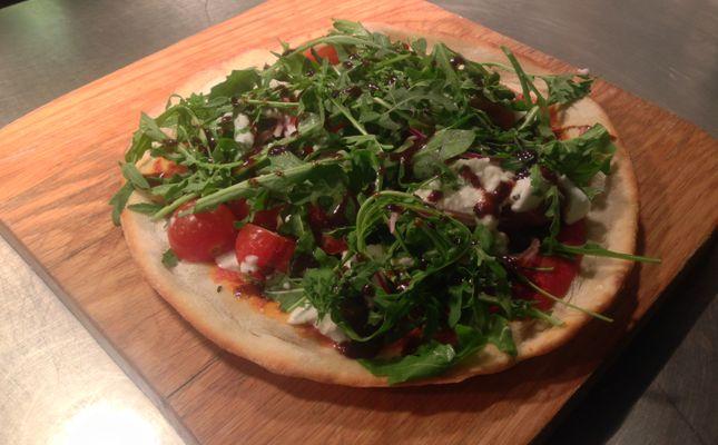 """Beach Deck Favourite (v) 9"""" rustic pizza w/ cherry tomatoes, rocket & buffalo mozzarella £7.50"""