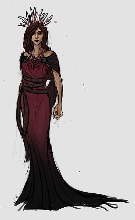 Persephone costume sketch in gorgeous red and black - by asphodelon, happily ever after in the underworld