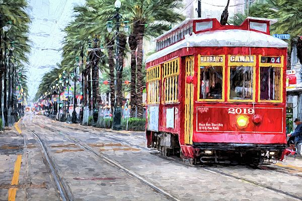 The canal Street Streetcar,New Orleans Streetcar,Street car,trolly,Red New Orleans Streetcar,New Orleans,New Orleans LA,New Orleans Louisiana,NOLA,Canal street New Orleans,Canal St new Orleans,JC Findley,Canal street line,new orleans streetcars,New Orleans French Quarter,Downtown New Orleans,The French Quarter,New Orleans palm trees,Palm lined boulevards,