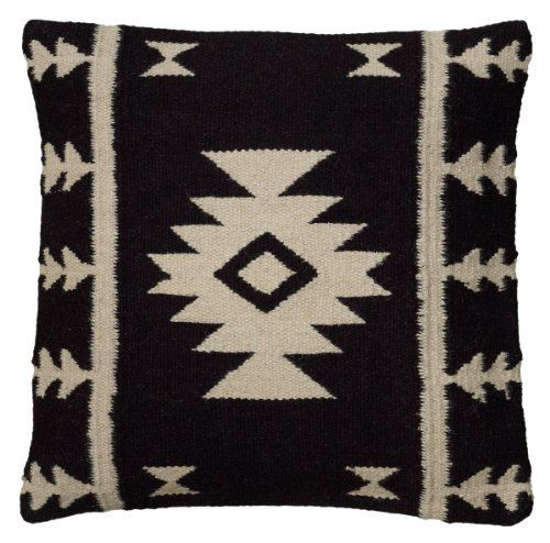 Rizzy-Home-T05808-Woven-Southwestern-Patten-Decorative-Pillow-18-by-18-Inch-Black