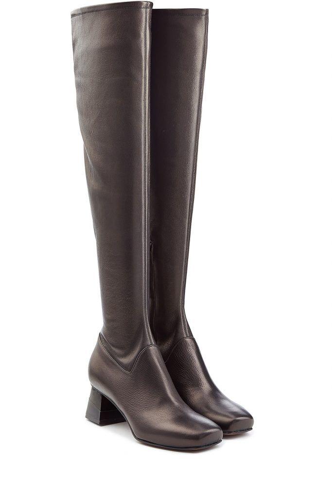#LAutre #Chose #Overknees aus #Leder #, #Schwarz für #Damen Zu Lederleggings, Strickkleidern, Flared > Skirts  >  ach, eigentlich zu allem tragen wir die Overknees aus feinem Lammleder von LAutre Chose  >  Schwarzes Lammleder, eckige Zehenkappe, Reißverschluss innen  >  Innen >  und Laufsohle aus Leder, Blockabsatz  >  Stylen wir mit einem Rollkragenpullover und einem karierten Flared > Skirt