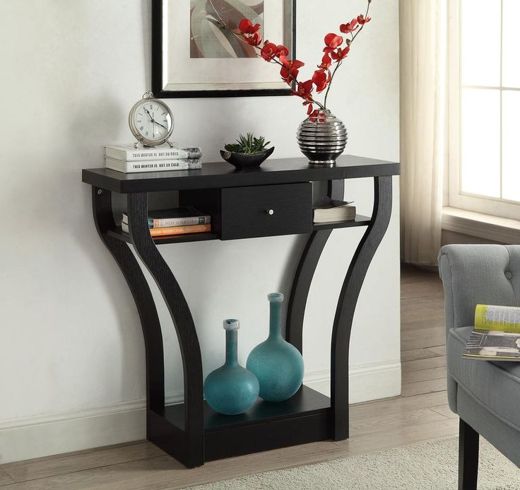 Console Table Hall Table Shelf Drawer Curved Design Furniture Wood Black #Unbranded => Easy & pleasant transaction => Quick delivery => 100% Feedback => http://bit.ly/24_hours_open #*24_hours_open*, #Hall,#Table,#Coffee,#Corner,#Furniture,#Decoration