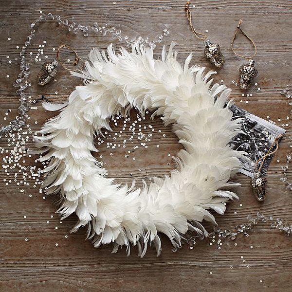 Snowy white feather wreath