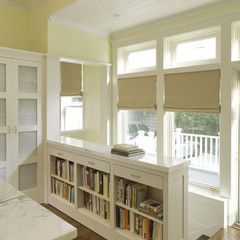 Skip the railing and install bookcases instead .  Dijeau Poage Construction