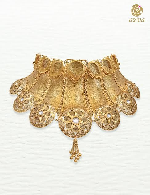 Handcrafted filigree gold choker with kundan and tassels by Azva.
