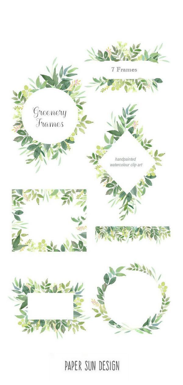 Green Leaves Frames Foliage Clipart Greenery Wedding Invites