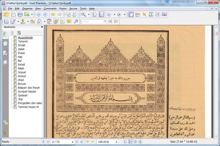 Tampilan Kitab Fathul Qorib dalam Program dan Literatur Digital Orang NU, Syumila NU 1.0
